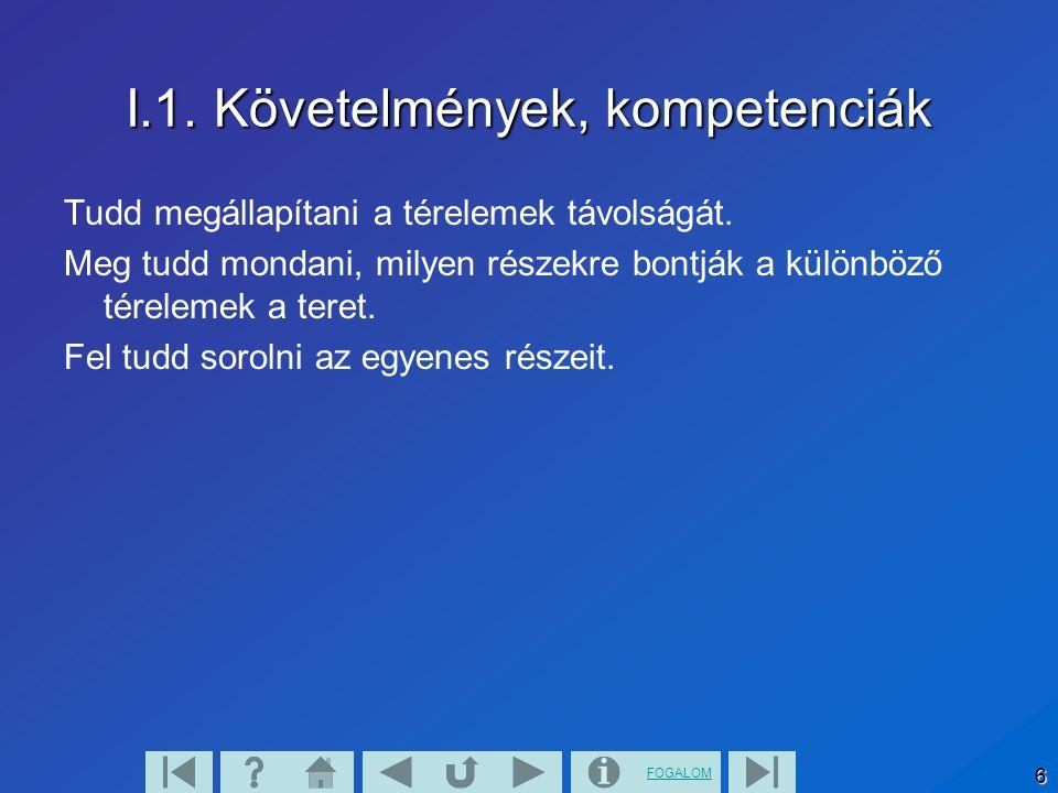 FOGALOM 6 I.1. Követelmények, kompetenciák Tudd megállapítani a térelemek távolságát. Meg tudd mondani, milyen részekre bontják a különböző térelemek