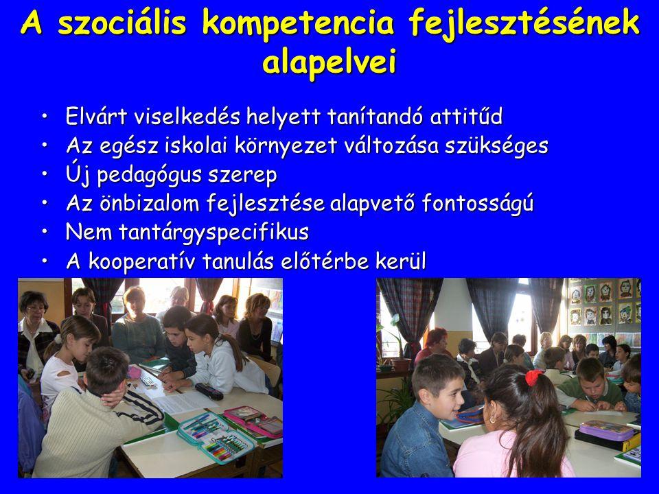 A szociális kompetencia fejlesztésének alapelvei Elvárt viselkedés helyett tanítandó attitűdElvárt viselkedés helyett tanítandó attitűd Az egész iskol