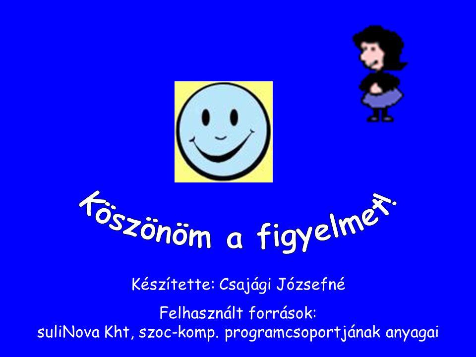Készítette: Csajági Józsefné Felhasznált források: suliNova Kht, szoc-komp. programcsoportjának anyagai