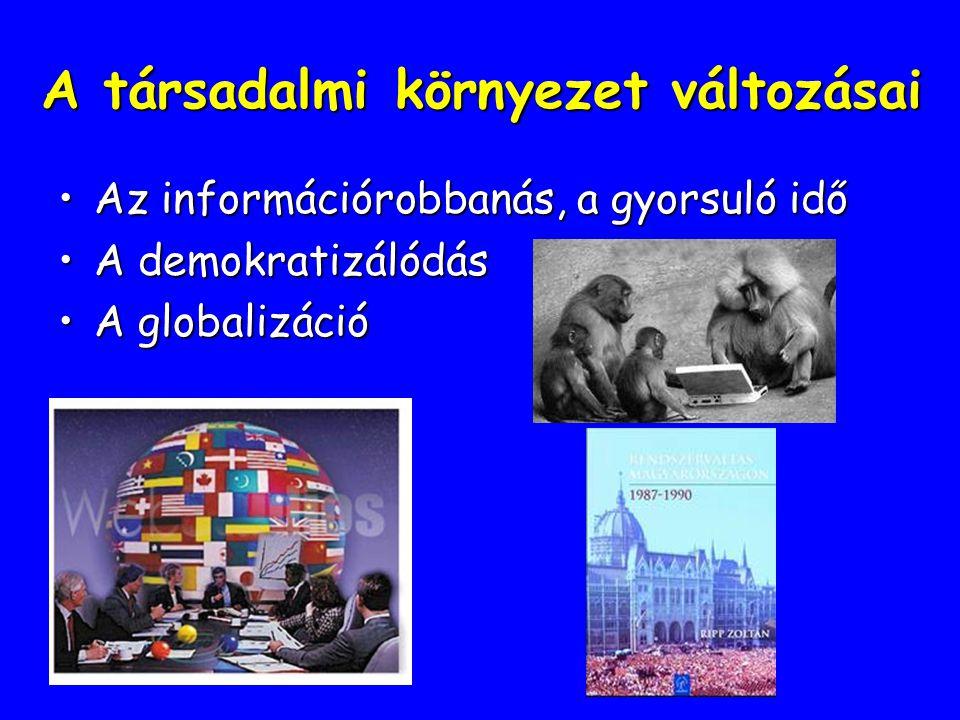 A társadalmi környezet változásai Az információrobbanás, a gyorsuló időAz információrobbanás, a gyorsuló idő A demokratizálódásA demokratizálódás A gl