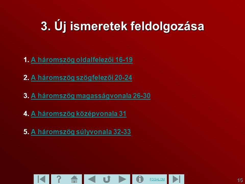 FOGALOM 15 3. Új ismeretek feldolgozása 1. A háromszög oldalfelezői 16-19A háromszög oldalfelezői 16-19 2. A háromszög szögfelezői 20-24A háromszög sz