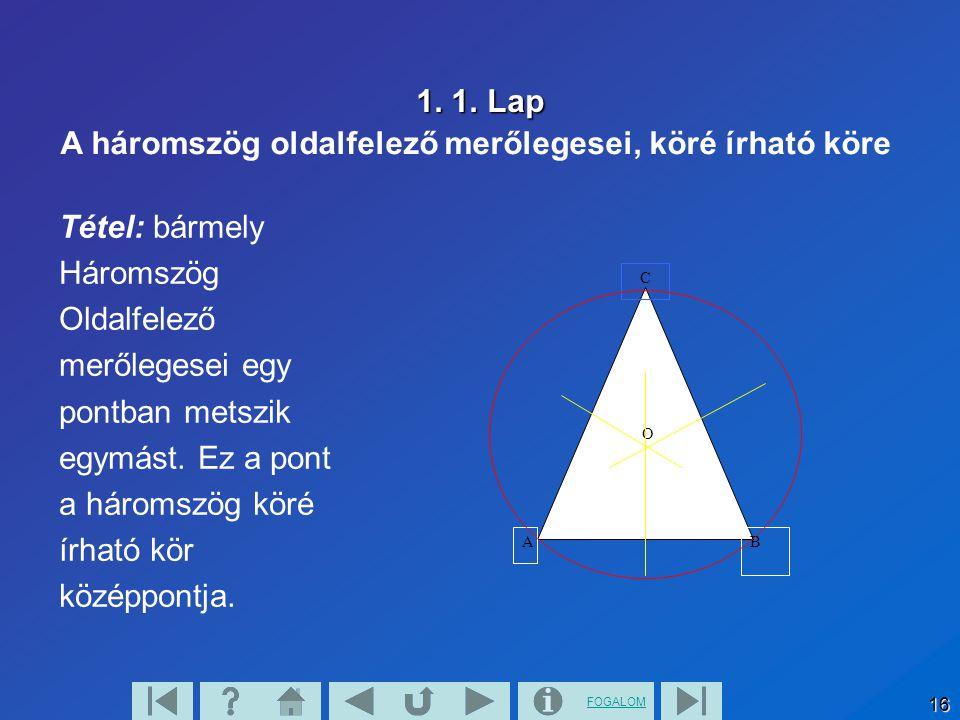 FOGALOM 16 1. 1. Lap Tétel: bármely Háromszög Oldalfelező merőlegesei egy pontban metszik egymást. Ez a pont a háromszög köré írható kör középpontja.