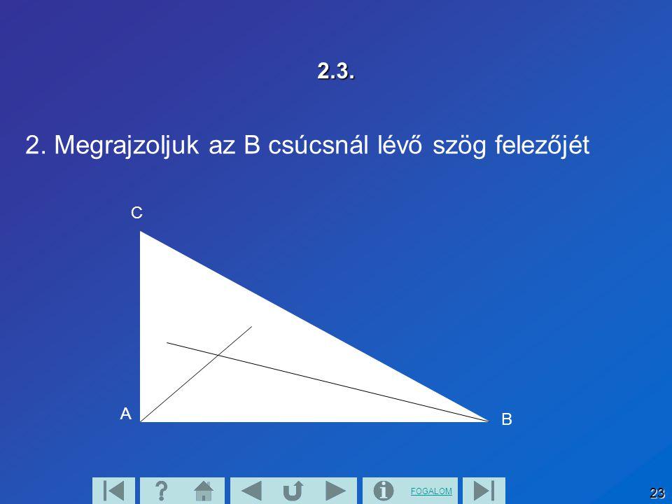 FOGALOM 23 2.3. 2. Megrajzoljuk az B csúcsnál lévő szög felezőjét A B C