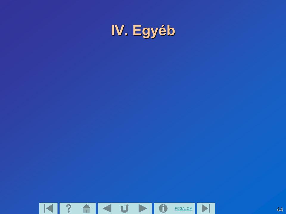FOGALOM 44 IV. Egyéb