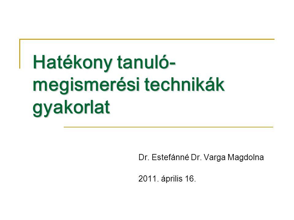 Hatékony tanuló- megismerési technikák gyakorlat Dr. Estefánné Dr. Varga Magdolna 2011. április 16.