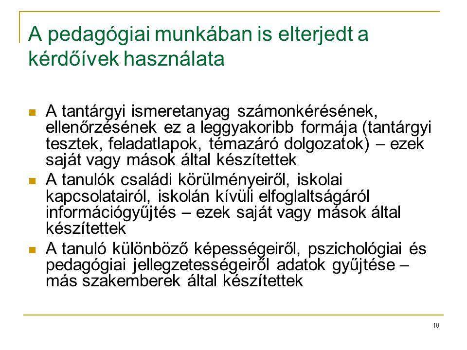 10 A pedagógiai munkában is elterjedt a kérdőívek használata A tantárgyi ismeretanyag számonkérésének, ellenőrzésének ez a leggyakoribb formája (tantá