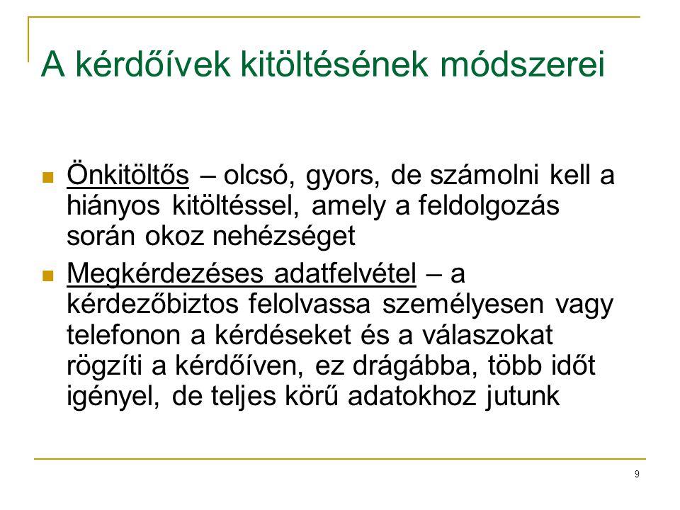 20 A strukturálatlan interjú szakaszai SZAKASZFELADAT 1.