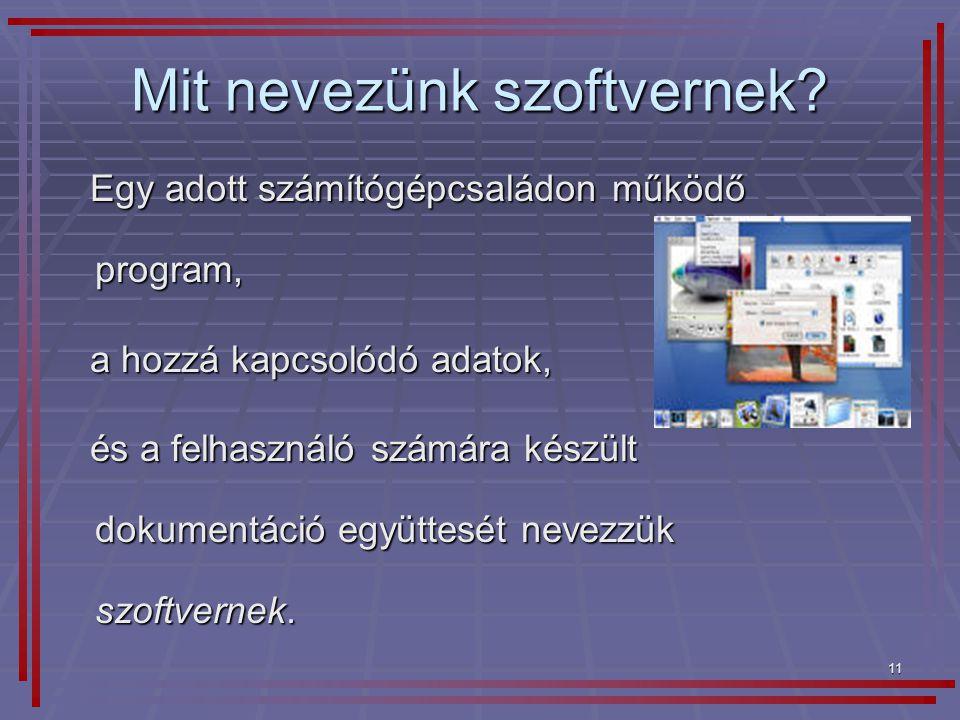 11 Mit nevezünk szoftvernek? Egy adott számítógépcsaládon működő program, Egy adott számítógépcsaládon működő program, a hozzá kapcsolódó adatok, a ho
