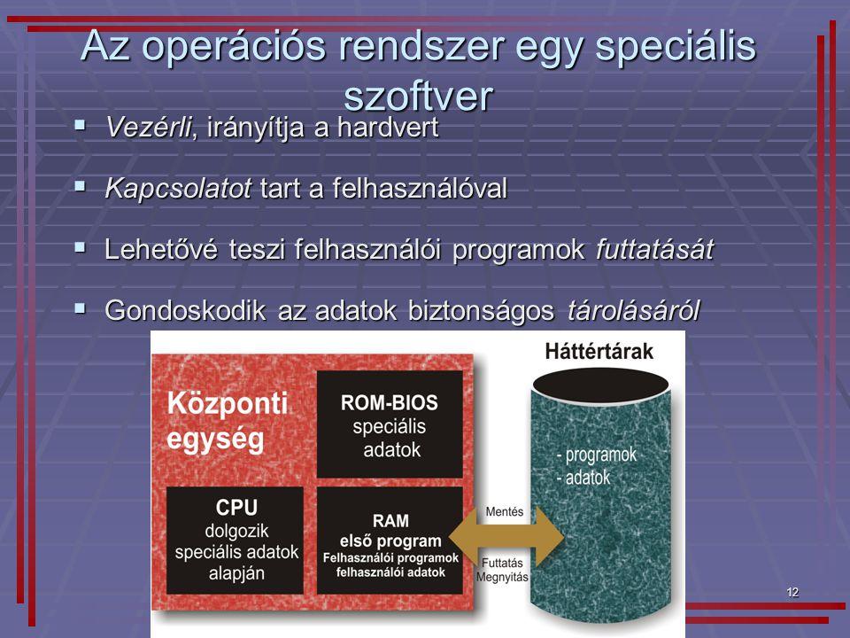 12 Az operációs rendszer egy speciális szoftver  Vezérli, irányítja a hardvert  Kapcsolatot tart a felhasználóval  Lehetővé teszi felhasználói prog