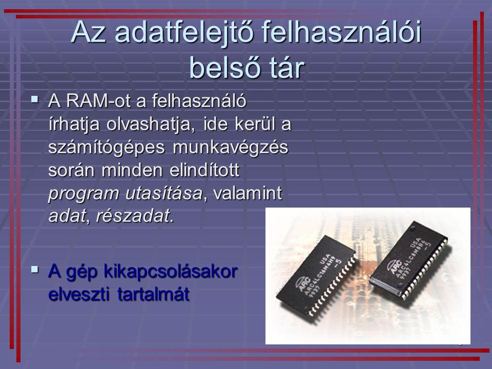 3 Az adatfelejtő felhasználói belső tár  A RAM-ot a felhasználó írhatja olvashatja, ide kerül a számítógépes munkavégzés során minden elindított prog