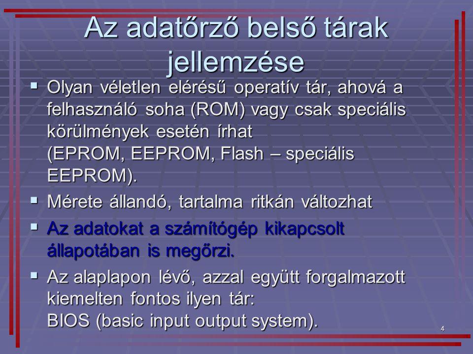 5 BIOS  Alapvető I/O rendszer az alaplapon  Számítógépbe beépített programok összessége.