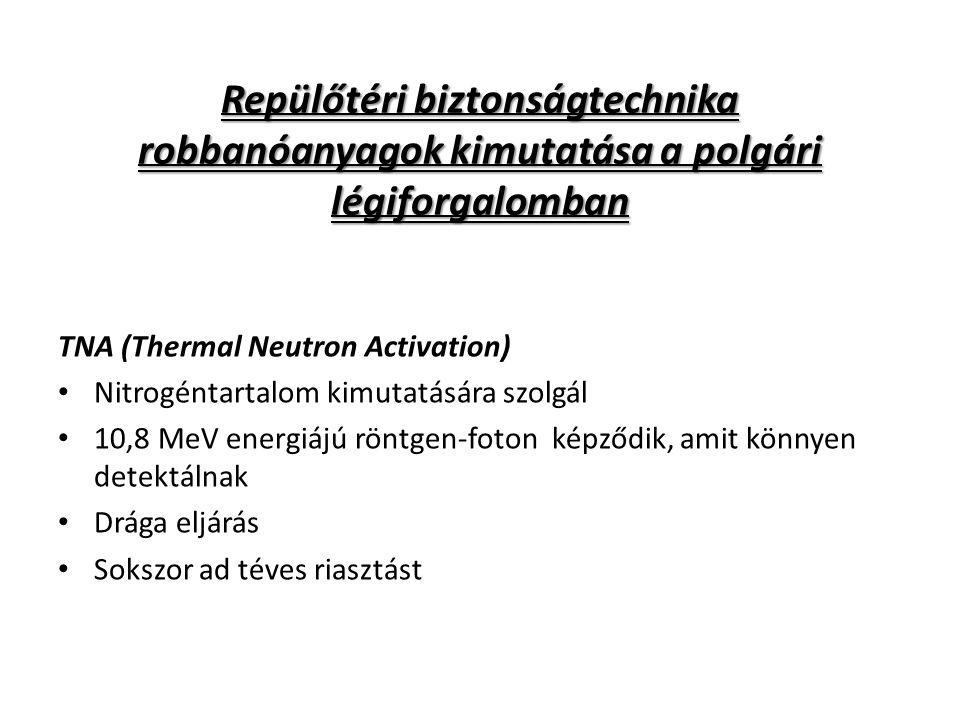 Repülőtéri biztonságtechnika robbanóanyagok kimutatása a polgári légiforgalomban TNA (Thermal Neutron Activation) Nitrogéntartalom kimutatására szolgá