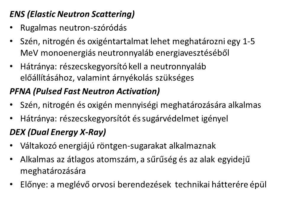 ENS (Elastic Neutron Scattering) Rugalmas neutron-szóródás Szén, nitrogén és oxigéntartalmat lehet meghatározni egy 1-5 MeV monoenergiás neutronnyaláb
