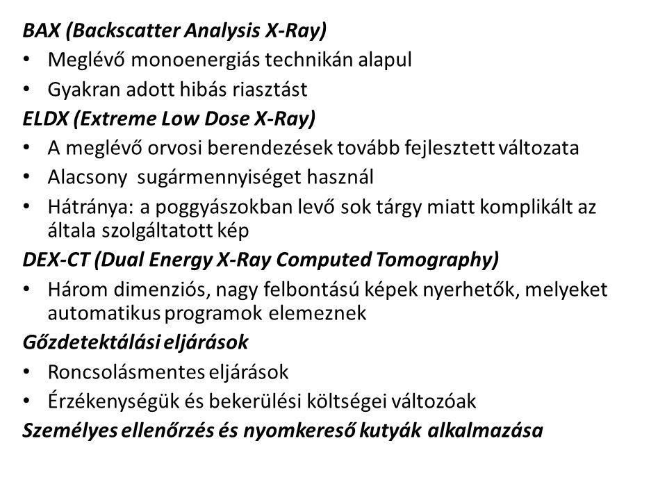 BAX (Backscatter Analysis X-Ray) Meglévő monoenergiás technikán alapul Gyakran adott hibás riasztást ELDX (Extreme Low Dose X-Ray) A meglévő orvosi be