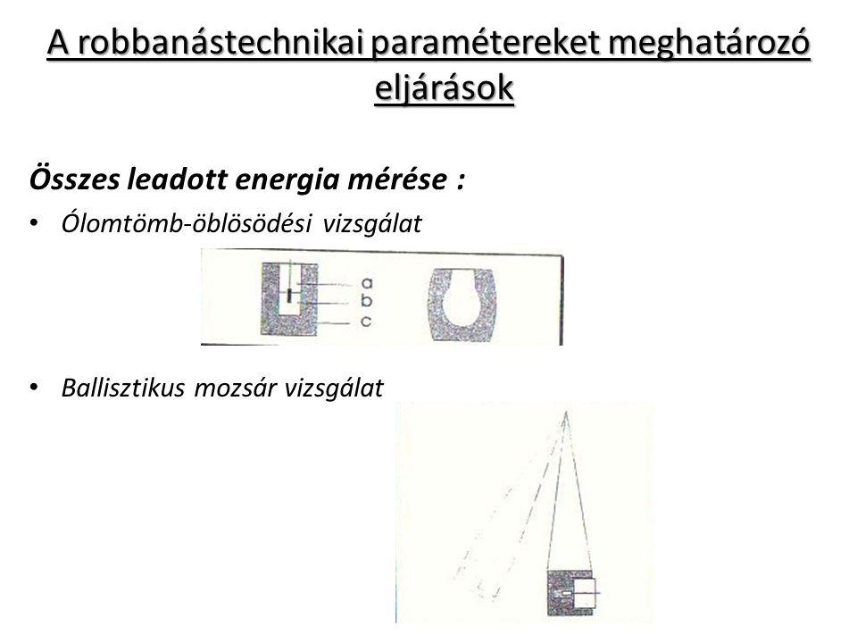 A robbanástechnikai paramétereket meghatározó eljárások Összes leadott energia mérése : Ólomtömb-öblösödési vizsgálat Ballisztikus mozsár vizsgálat