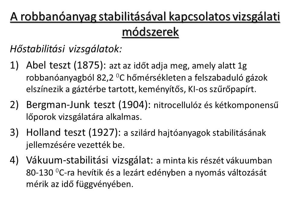 A robbanóanyag stabilitásával kapcsolatos vizsgálati módszerek Hőstabilitási vizsgálatok: 1)Abel teszt (1875): azt az időt adja meg, amely alatt 1g ro