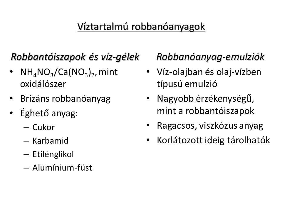 Víztartalmú robbanóanyagok Robbantóiszapok és víz-gélek NH 4 NO 3 /Ca(NO 3 ) 2, mint oxidálószer Brizáns robbanóanyag Éghető anyag: – Cukor – Karbamid