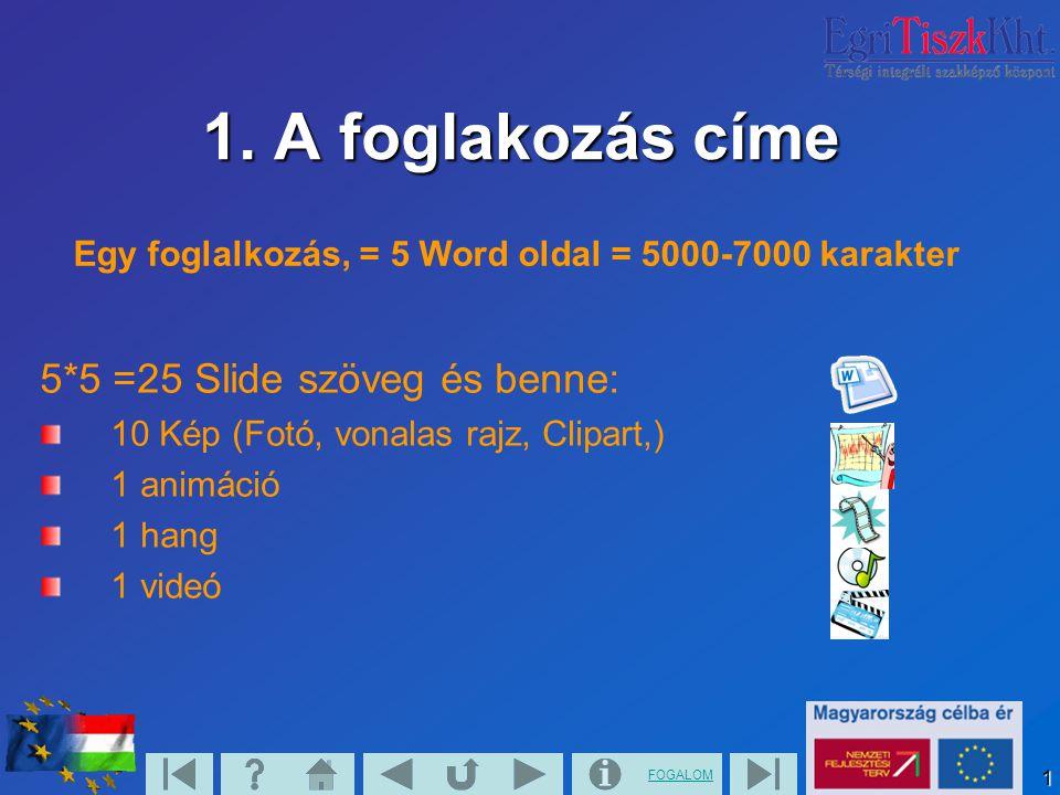 FOGALOM1 1. A foglakozás címe 5*5 =25 Slide szöveg és benne: 10 Kép (Fotó, vonalas rajz, Clipart,) 1 animáció 1 hang 1 videó Egy foglalkozás, = 5 Word