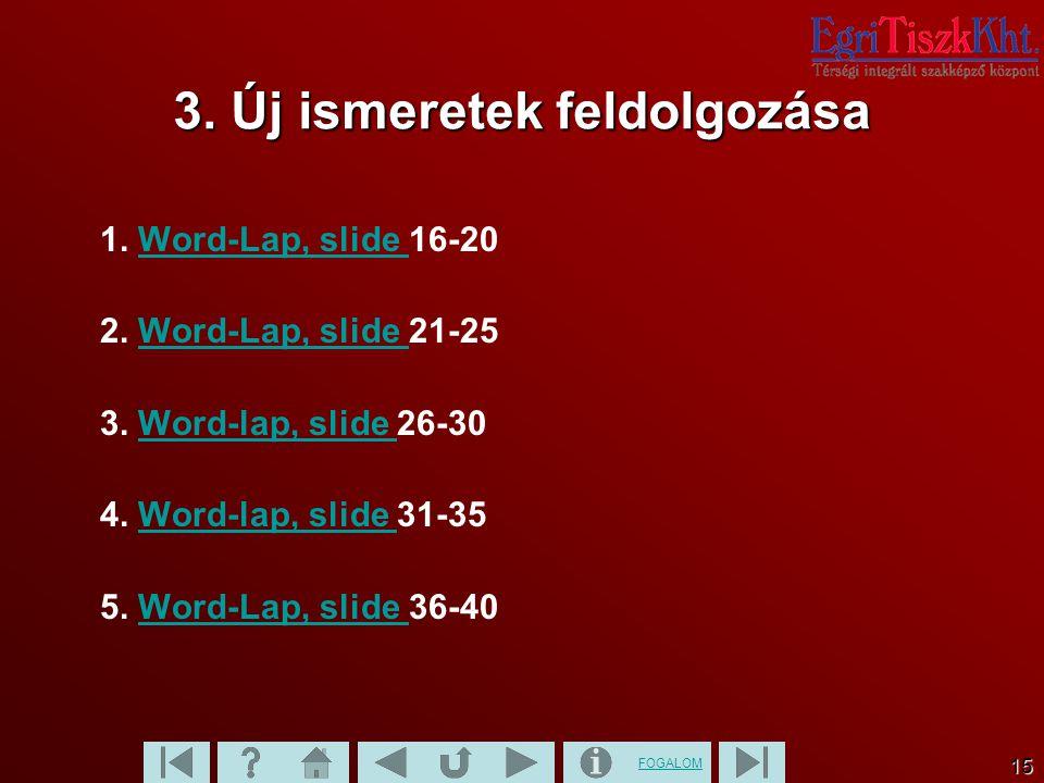 FOGALOM 15 3. Új ismeretek feldolgozása 1. Word-Lap, slide 16-20Word-Lap, slide 2. Word-Lap, slide 21-25Word-Lap, slide 3. Word-lap, slide 26-30Word-l