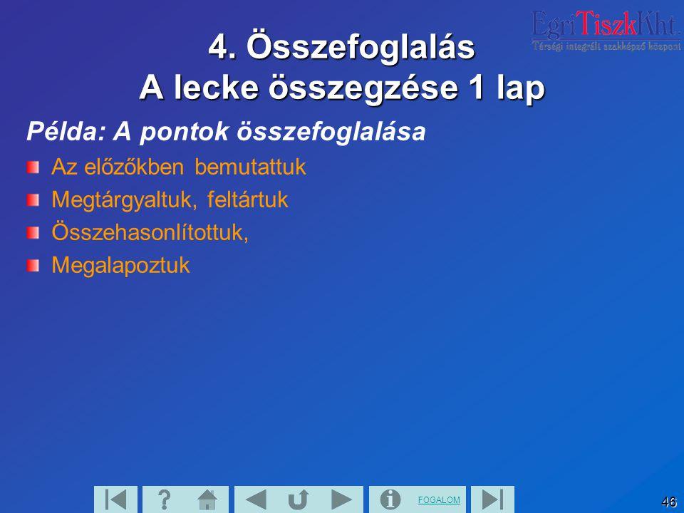 FOGALOM 46 4. Összefoglalás A lecke összegzése 1 lap Példa: A pontok összefoglalása Az előzőkben bemutattuk Megtárgyaltuk, feltártuk Összehasonlítottu
