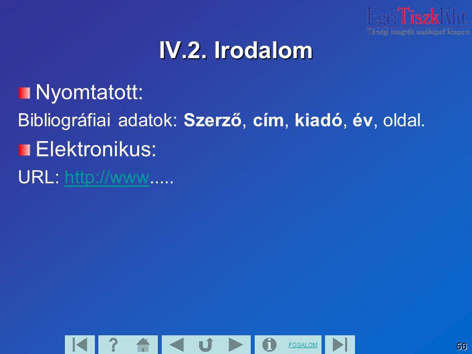 FOGALOM 56 IV.2. Irodalom Nyomtatott: Bibliográfiai adatok: Szerző, cím, kiadó, év, oldal. Elektronikus: URL: http://www.....http://www