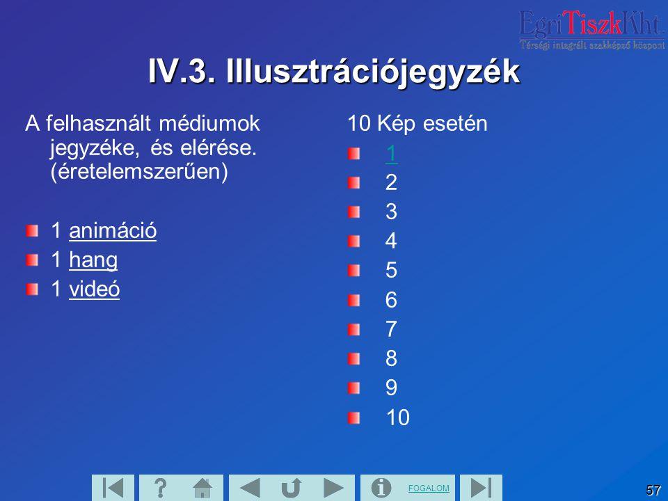 FOGALOM 57 IV.3. Illusztrációjegyzék A felhasznált médiumok jegyzéke, és elérése. (éretelemszerűen) 1 animáció 1 hang 1 videó 10 Kép esetén 1 2 3 4 5