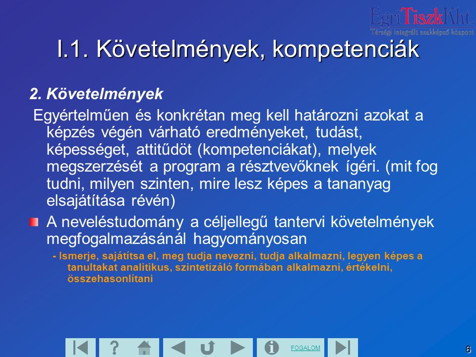 FOGALOM 7 II. Rövid tartalmi leírás 1