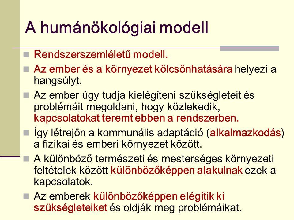 A humánökológiai modell Rendszerszemléletű modell. Az ember és a környezet kölcsönhatására helyezi a hangsúlyt. Az ember úgy tudja kielégíteni szükség