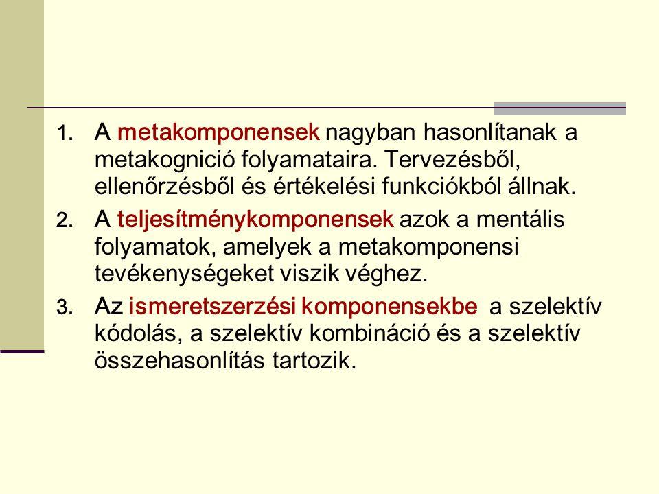 1. A metakomponensek nagyban hasonlítanak a metakognició folyamataira. Tervezésből, ellenőrzésből és értékelési funkciókból állnak. 2. A teljesítményk