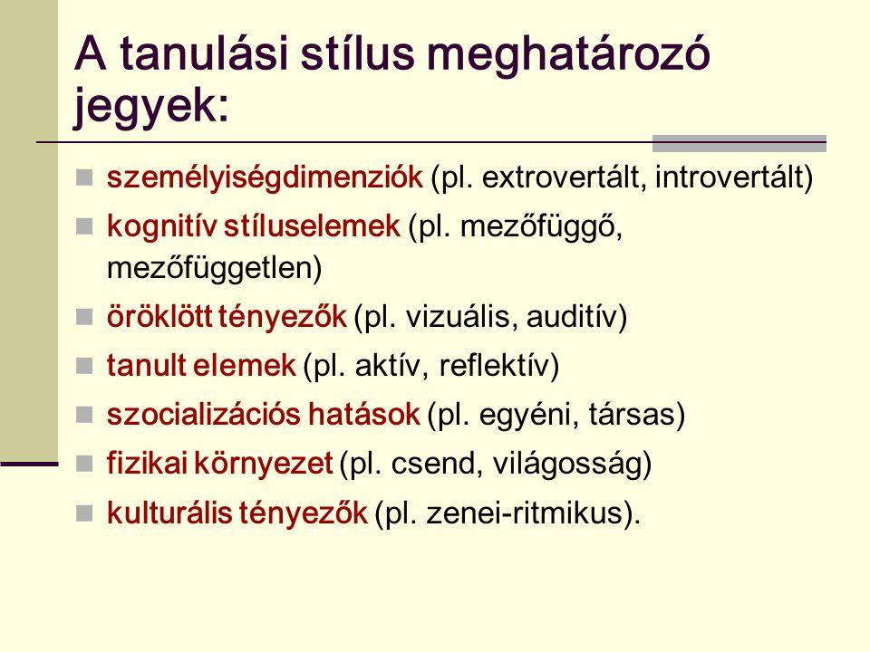 A tanulási stílus meghatározó jegyek: személyiségdimenziók (pl. extrovertált, introvertált) kognitív stíluselemek (pl. mezőfüggő, mezőfüggetlen) örökl