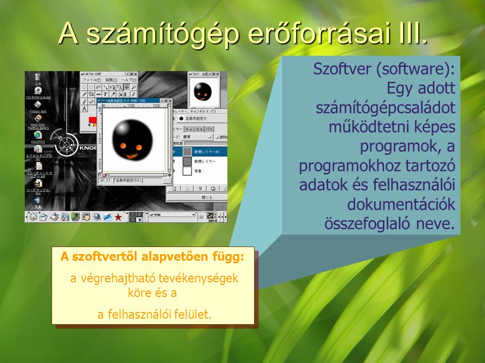 Szoftver (software): Egy adott számítógépcsaládot működtetni képes programok, a programokhoz tartozó adatok és felhasználói dokumentációk összefoglaló neve.