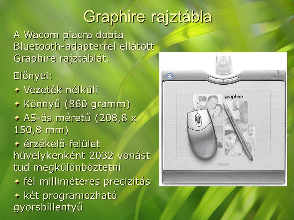 Graphire rajztábla A Wacom piacra dobta Bluetooth-adapterrel ellátott Graphire rajztáblát. Előnyei: Vezeték nélküli Vezeték nélküli Könnyű (860 gramm)