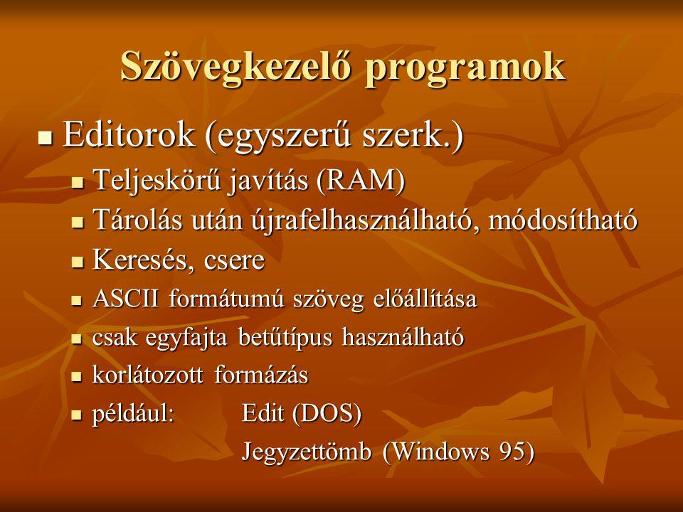 Editorok (egyszerű szerk.) Editorok (egyszerű szerk.) Teljeskörű javítás (RAM) Teljeskörű javítás (RAM) Tárolás után újrafelhasználható, módosítható T