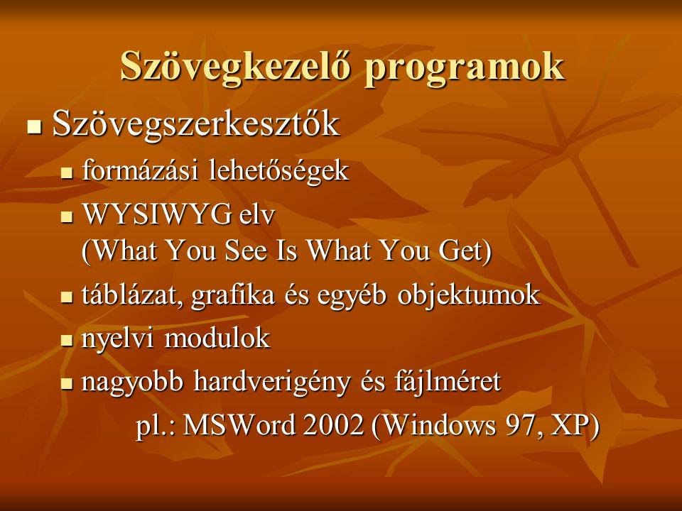 Szövegkezelő programok Szövegszerkesztők Szövegszerkesztők formázási lehetőségek formázási lehetőségek WYSIWYG elv (What You See Is What You Get) WYSI