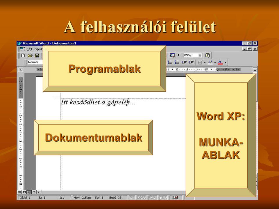 A felhasználói felület Dokumentumablak Programablak Word XP: MUNKA- ABLAK