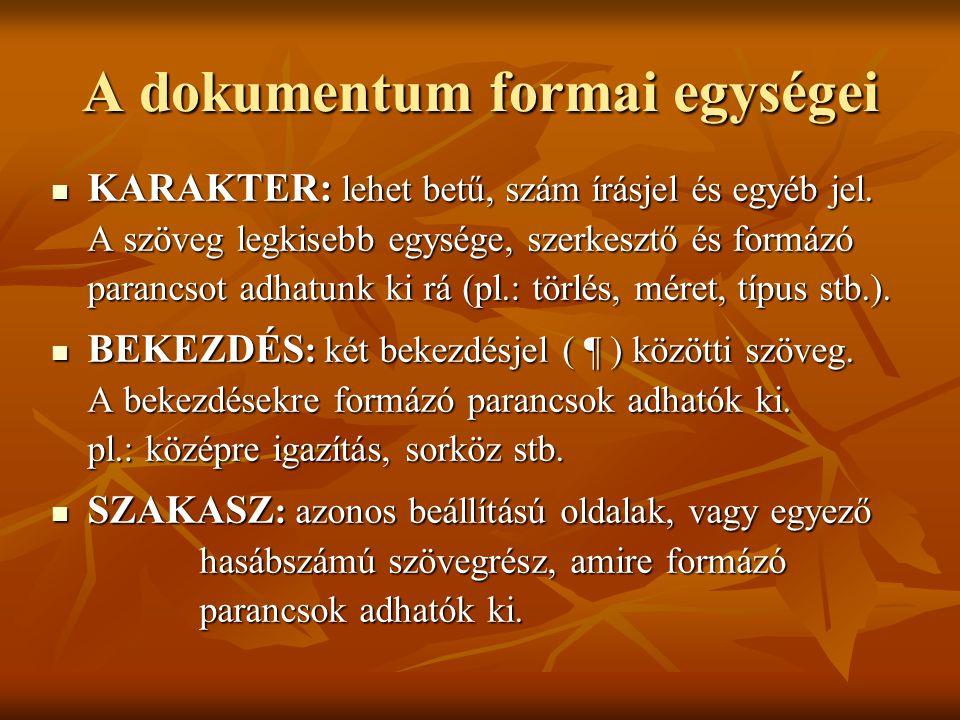 A dokumentum formai egységei KARAKTER: lehet betű, szám írásjel és egyéb jel. A szöveg legkisebb egysége, szerkesztő és formázó parancsot adhatunk ki