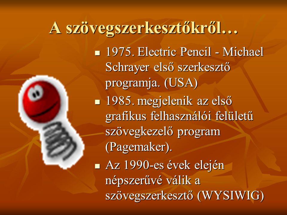 A szövegszerkesztőkről… 1975. Electric Pencil - Michael Schrayer első szerkesztő programja. (USA) 1975. Electric Pencil - Michael Schrayer első szerke