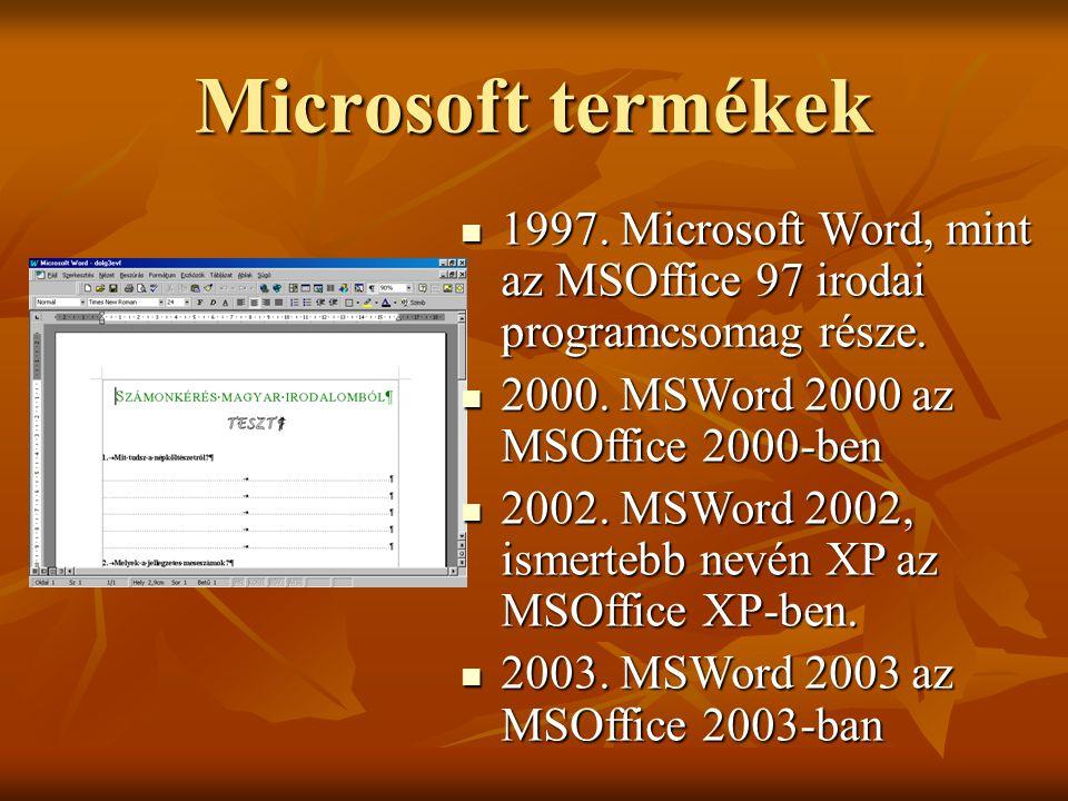 Konkrét kezdeti lépések Microsoft Word