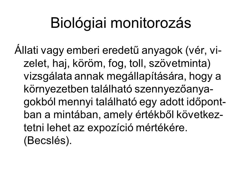 Biológiai monitorozás Állati vagy emberi eredetű anyagok (vér, vi- zelet, haj, köröm, fog, toll, szövetminta) vizsgálata annak megállapítására, hogy a