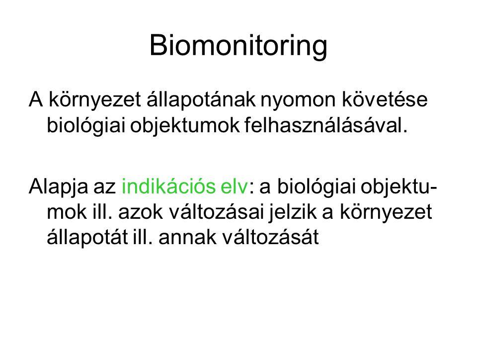 Biomonitoring A környezet állapotának nyomon követése biológiai objektumok felhasználásával. Alapja az indikációs elv: a biológiai objektu- mok ill. a