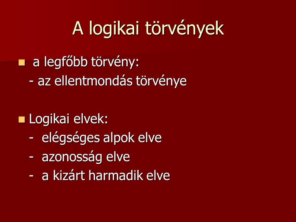 A logikai törvények a legfőbb törvény: a legfőbb törvény: - az ellentmondás törvénye Logikai elvek: Logikai elvek: - elégséges alpok elve - azonosság