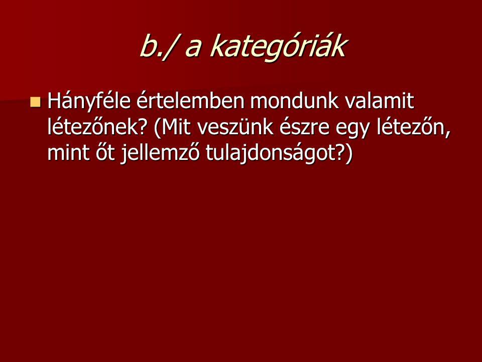 Állandó tulajdonságok, lényeg 1.szubsztancia 1. szubsztancia - mi a létező – pl.
