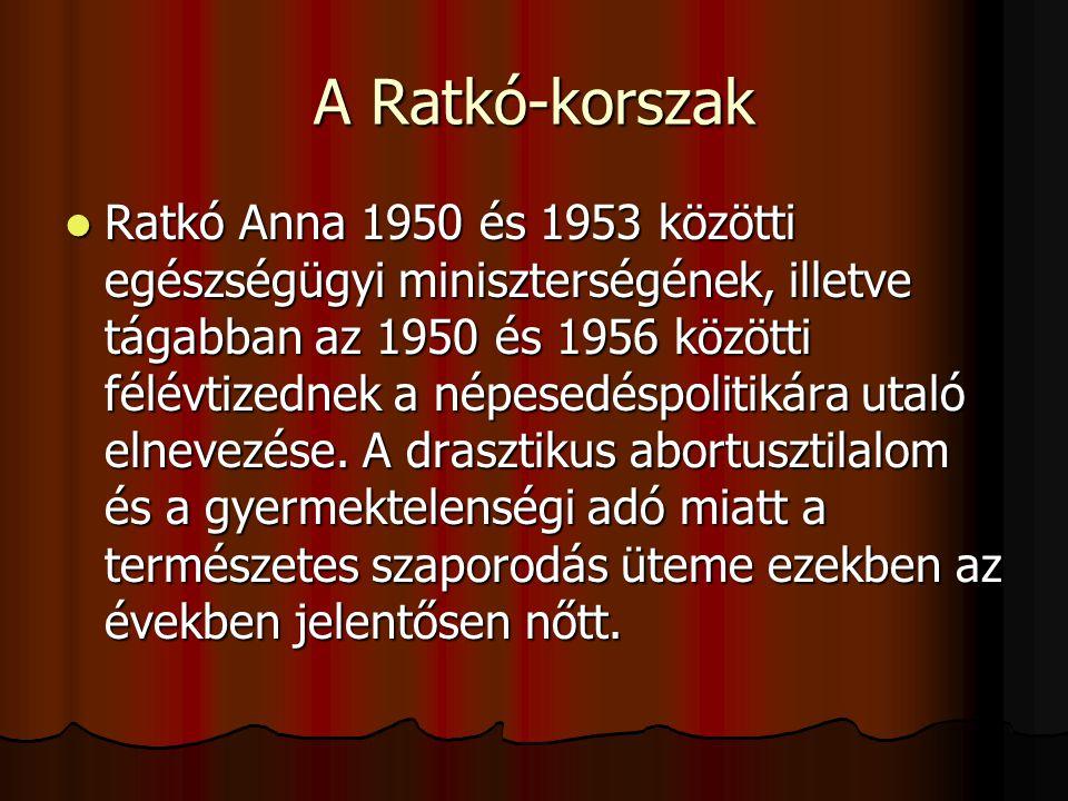 A Ratkó-korszak Ratkó Anna 1950 és 1953 közötti egészségügyi miniszterségének, illetve tágabban az 1950 és 1956 közötti félévtizednek a népesedéspolit