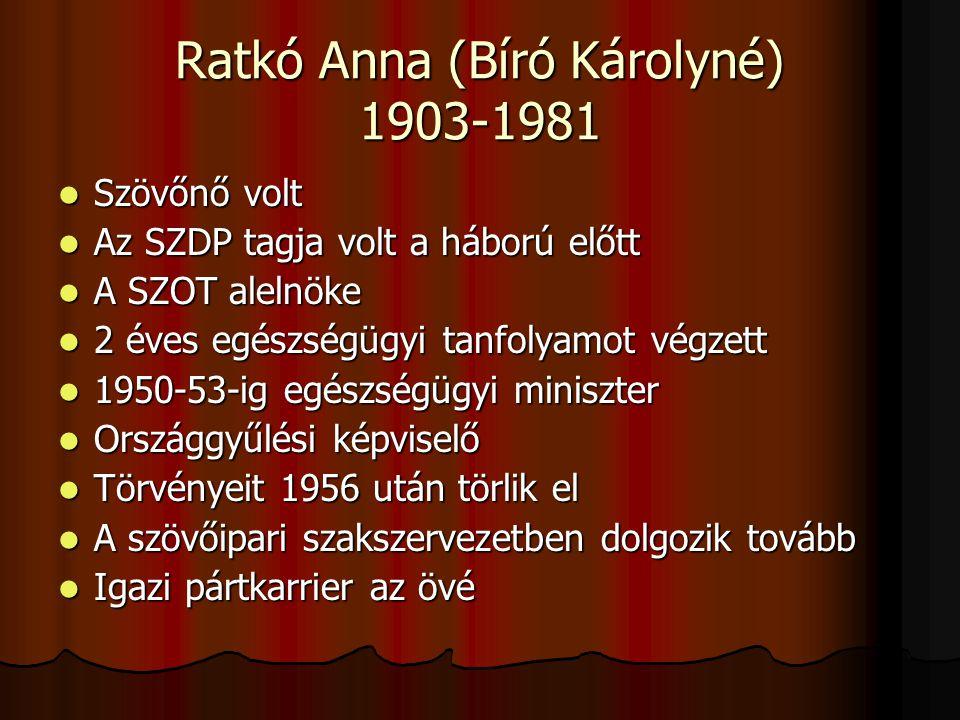 Ratkó Anna (Bíró Károlyné) 1903-1981 Szövőnő volt Szövőnő volt Az SZDP tagja volt a háború előtt Az SZDP tagja volt a háború előtt A SZOT alelnöke A S