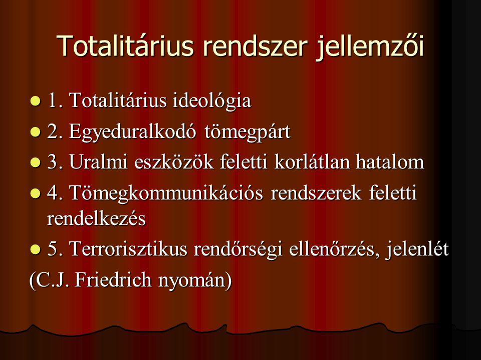 Totalitárius rendszer jellemzői 1. Totalitárius ideológia 1. Totalitárius ideológia 2. Egyeduralkodó tömegpárt 2. Egyeduralkodó tömegpárt 3. Uralmi es