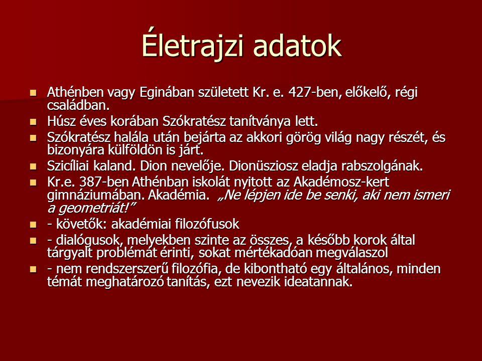 Életrajzi adatok Athénben vagy Eginában született Kr. e. 427-ben, előkelő, régi családban. Athénben vagy Eginában született Kr. e. 427-ben, előkelő, r