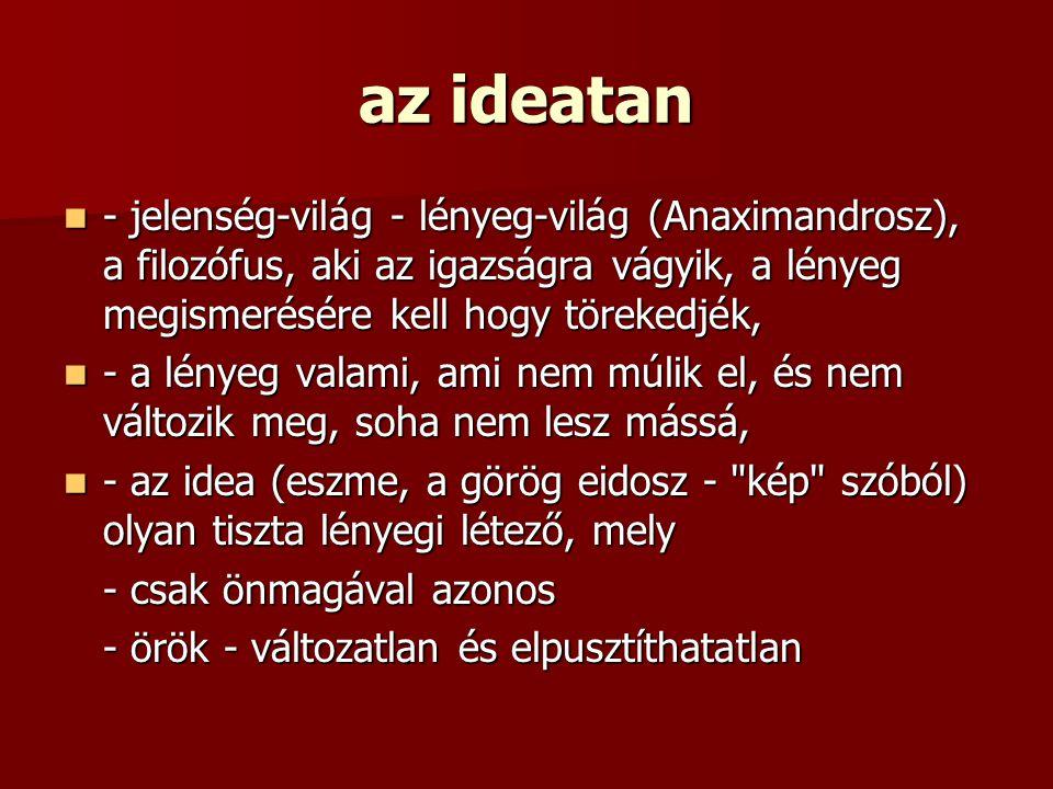 az ideatan - jelenség-világ - lényeg-világ (Anaximandrosz), a filozófus, aki az igazságra vágyik, a lényeg megismerésére kell hogy törekedjék, - jelen