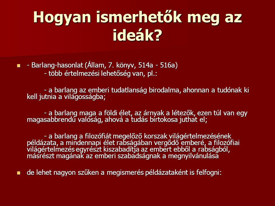 Hogyan ismerhetők meg az ideák? - Barlang-hasonlat (Állam, 7. könyv, 514a - 516a) - Barlang-hasonlat (Állam, 7. könyv, 514a - 516a) - több értelmezési