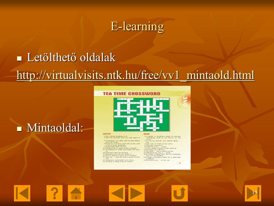 14 Elektronikusan elérhető kiadványok Letölthető anyagok, animációk, segédletek: Letölthető anyagok, animációk, segédletek: http://www.ntk.hu/web/ques