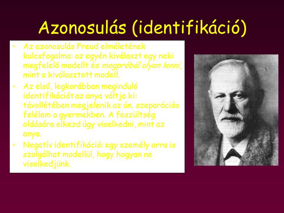 Azonosulás (identifikáció) Az azonosulás Freud elméletének kulcsfogalma: az egyén kiválaszt egy neki megfelelő modellt és megpróbál olyan lenni, mint